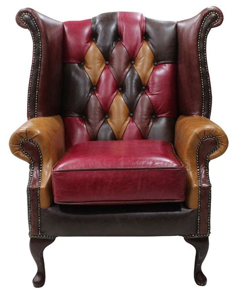 Patchwork Wing Chair - chesterfield patchwork wing chair