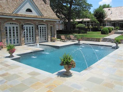 blue granite pebble sheen pool outdoor kitchen