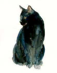 water color cat black cat watercolor