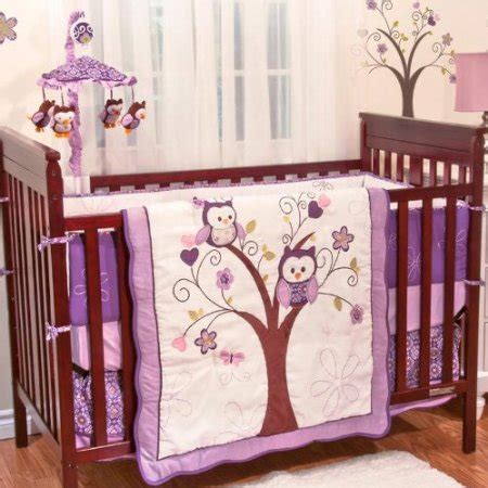 Plum Owl Meadow Crib Bedding Baby Bedding And Accessories Plum Crib Bedding