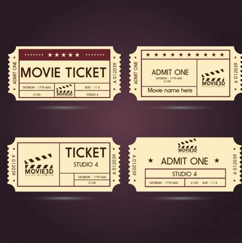 movie ticket templates classical horizontal style free