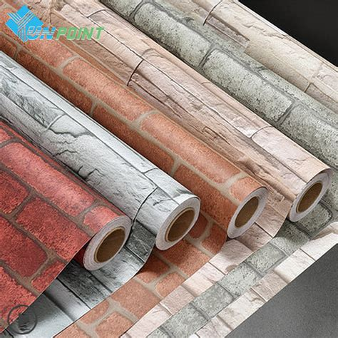 V036 Wallpaper Sticker Vintage 45cmx5m ᗑ 60cmx3m roll home decor ᗐ wall wall decals pvc brick brick wall stickers for living
