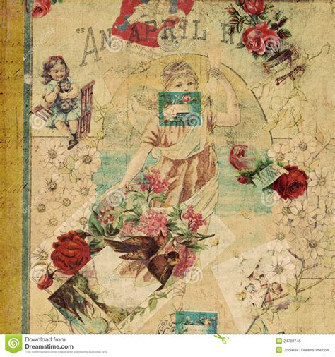 vintage picture collage antique vintage floral scrap collage royalty free stock