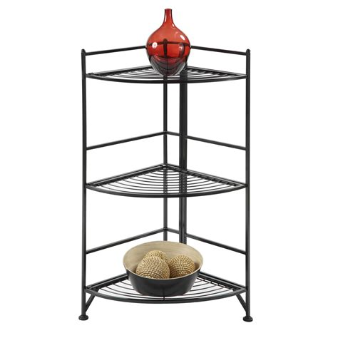 3 tier corner folding metal corner shelf convenience