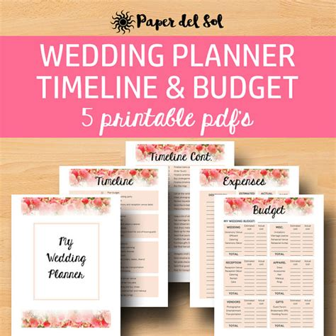 free printable wedding planner binder wedding planner printable for wedding binder by paperdelsol
