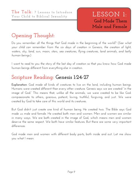 Pdf Talk Lessons Introduce Biblical Sexuality by Talk Lesson 1