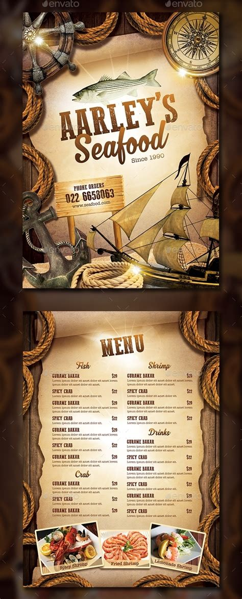 seafood menu templates 15 free and premium restaurant menu templates webprecis
