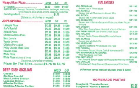 A Menu For Iii by Menu Iii Picture Of Big Joe S Pizza And Pasta Haslet