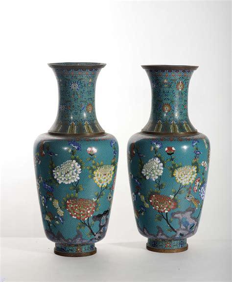 vasi in metallo coppia di vasi in metallo e smalti cloisonn 233