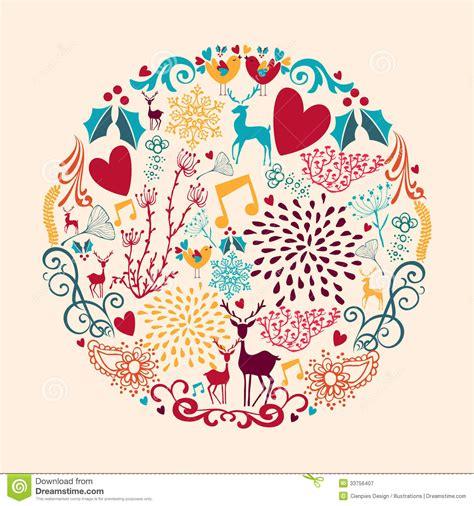 vintage crculo de concepto feliz navidad vector de stock merry christmas circle shape full of love composit stock
