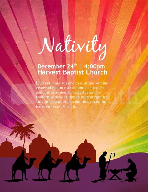 Nativity Poster Church Flyer Template Template Flyer Templates Nativity Flyer Template