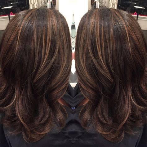 hair highlights and lowlights for brown hair dark brown hair with caramel highlights and midlength hair