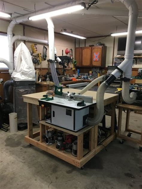 feed table router table dust collection