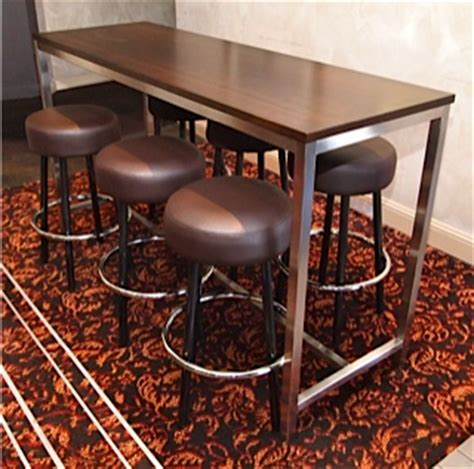 commercial high top bar tables stainless high bar timber top base023 creative