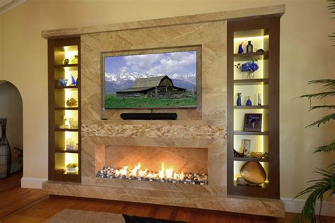 marble fireplace tv wall with wenge custom frosted glass