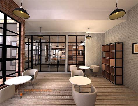 int ide sederhana desain interior konsep industrial style  kantor  sembilanstudio