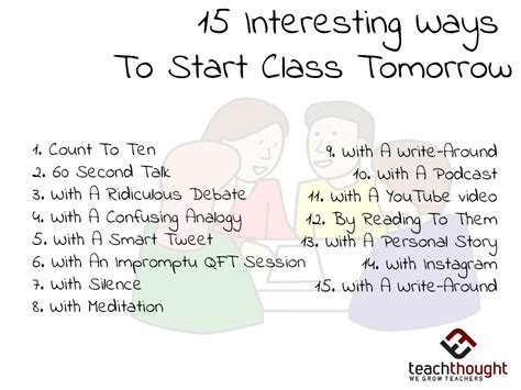 What A Way To Start A Day by 12 Interesting Ways To Start Class Tomorrow