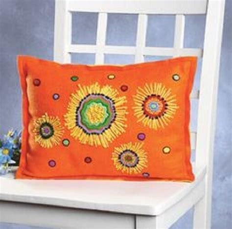 crewel pillow kits sunbursts kool felt crewel embroidery felt pillow kit