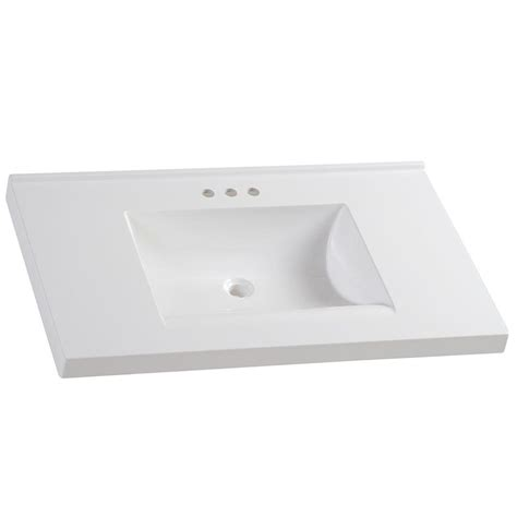 White Marble Vanity Top by Glacier Bay 37 In W X 22 In D Cultured Marble Vanity Top