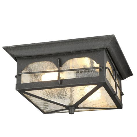 Outdoor Ceiling Lighting Home Decorators Collection Brimfield 2 Light Aged Iron Outdoor Flushmount Light Hb7045a 292