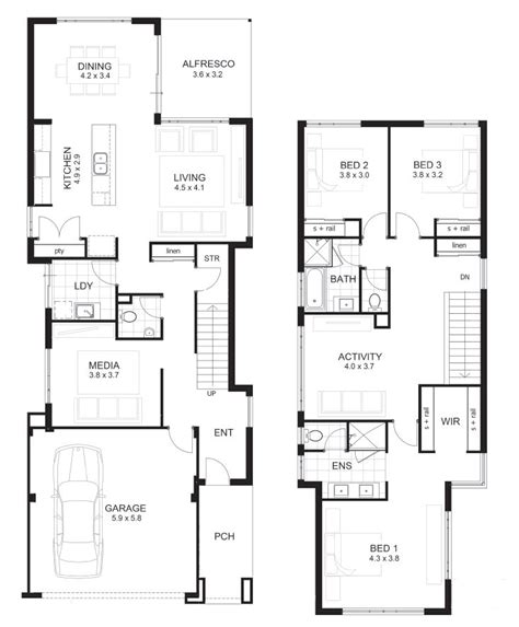 2 storey 3 bedroom house floor plan 3 bedroom house designs perth double storey apg homes