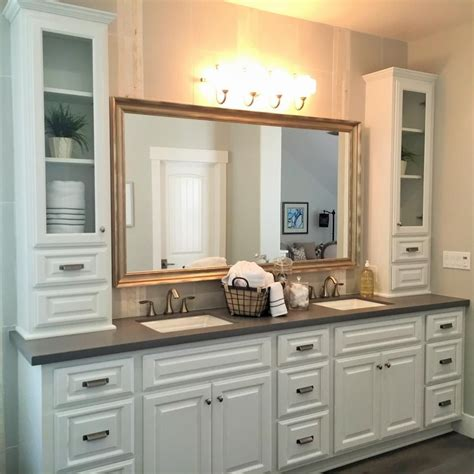 large bathroom vanity cabinets a large white vanity with sinks provides plenty of
