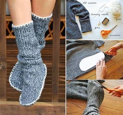 wonderful diy slipper boots from sweater slipper boots