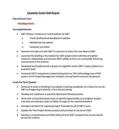 sle project report template 8 project quarterly report templates sle templates