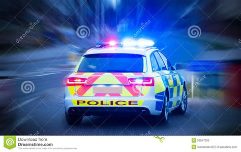police car lights meaning police car with emergency lights on stock photo image