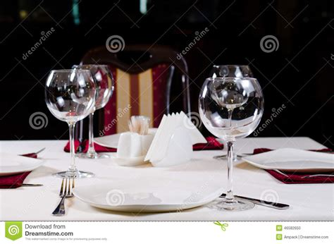 Wine Glass Table Ls by Table In Fancy Restaurant Set For Dinner Stock Photo