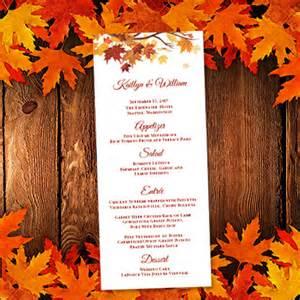 Fall Menu Template by Printable Wedding Menu Template Fall Or By Weddingtemplates