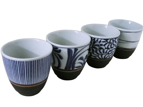 Brown Kitchen Canisters by Classic Lines Japanese Asian Ceramic Tea Cups Set Of Four