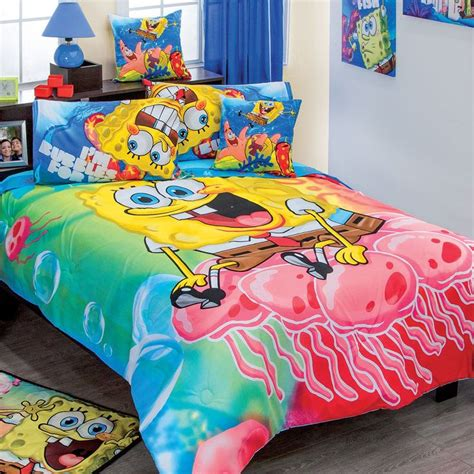 spongebob toddler bedding set spongebob adventure comforter set size full 7 piece