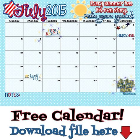 printable calendar 2015 summer july 2015 calendar is ready for your summer story inkhappi