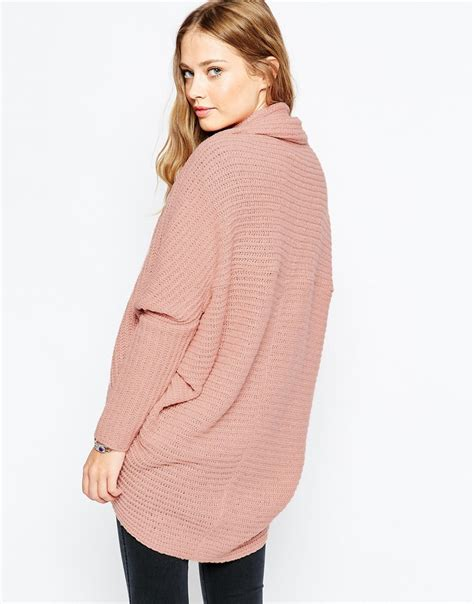 Cdg Thick Knit V Neck Cardigan Gargons 129 lyst asos chunky cardigan in cocoon shape in pink