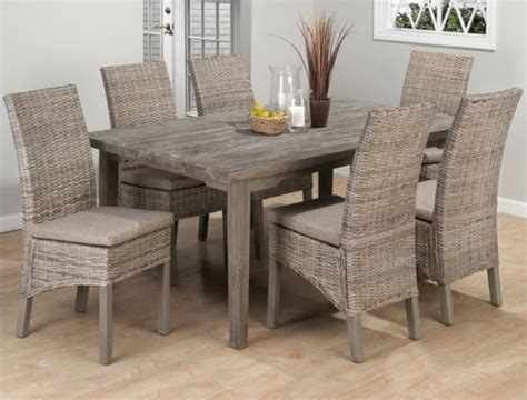 Wicker Kitchen Furniture Weathered Driftwood Grey Dining Table Banana Leaf Parsons Chairs Reclaimed Wood Distressed Wood