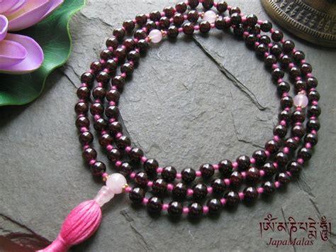 Japamala 108 Garnet 12mm garnet with quartz marker knotted mala tibetan style purified blessed mala