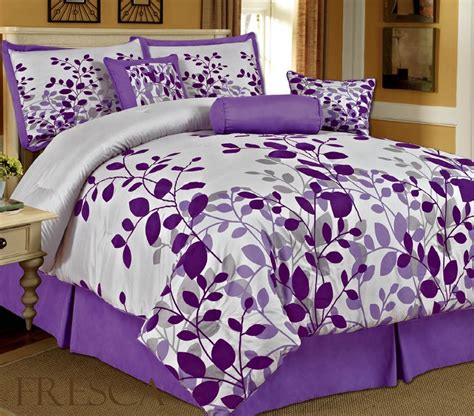 queen size comforter set com bednlinens 7 piece queen fresca purple leaves