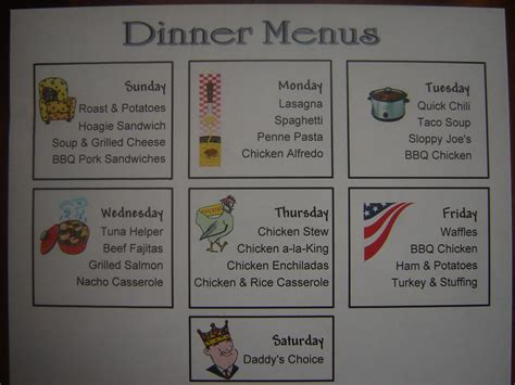 menu ideas for dinner prepared lds family simple family dinner menus