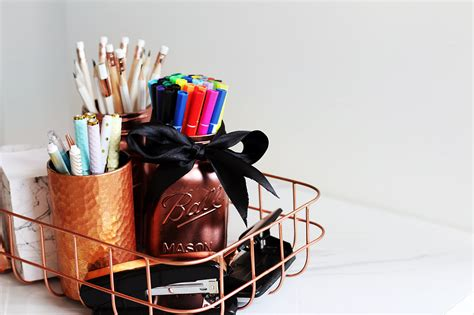 rose gold desk accessories diy pinterest desk decor organization tips giveaway