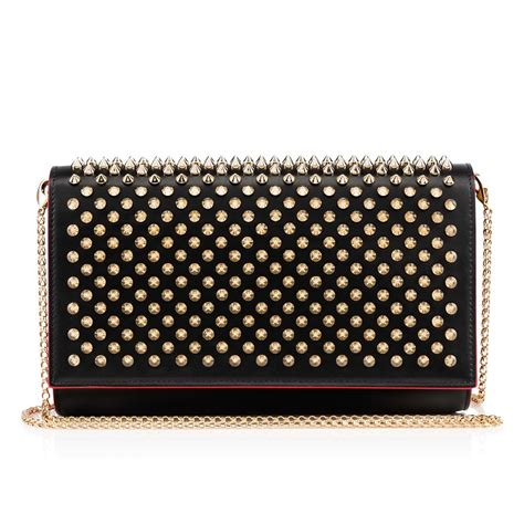 Christian Louboutin Alpaca Clutch by Clutch Black Brown Gd Classic Leather Handbags