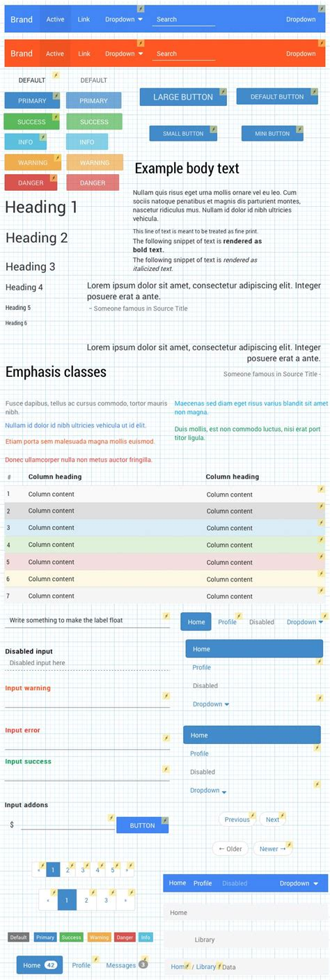 uxpin pattern library material design from google bootstrap in uxpin preview 1