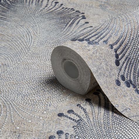 grey wallpaper diy com a s creation bohemian burlesque beige grey feather