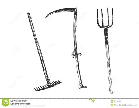 sketch tool sketch of farm tools stock vector image 57770130