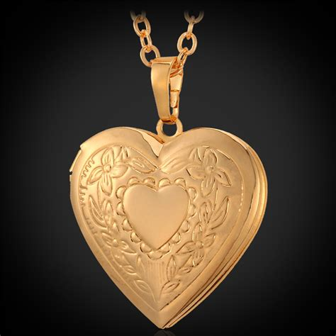 pendant necklace photo locket 18k real gold