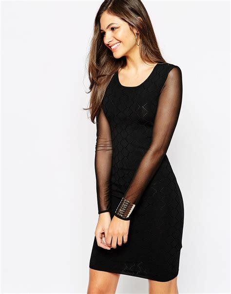 Sleeve Sheer Dress lyst y a s dress with sheer sleeves in black