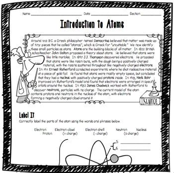 Introduction To Science Worksheet by Introduction To Atoms Worksheet By Adventures In Science Tpt