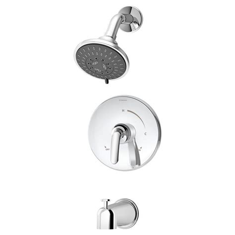 symmons elm 1 handle tub and shower faucet trim in chrome
