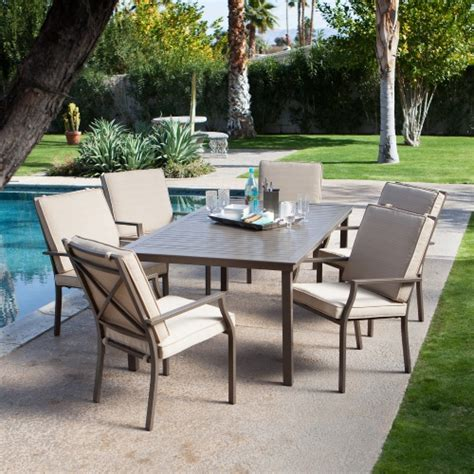 6 Seat Patio Dining Set Coral Coast Bellagio Cushioned Aluminum Patio Dining Set Seats 6 Patio Dining Sets At Hayneedle