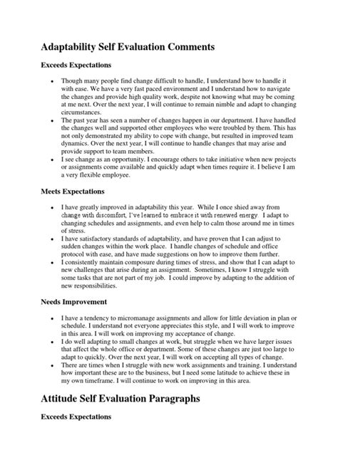 Self Evaluation Letter Template image gallery self appraisal exles
